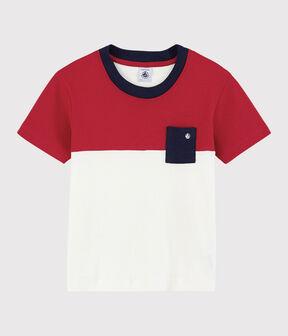 Tee-shirt manches courtes en coton enfant garçon rouge Terkuit / blanc Marshmallow