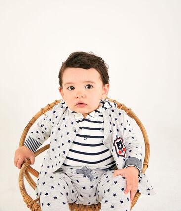 Pantalon bébé garçon en tubique imprimé gris Beluga / bleu Smoking