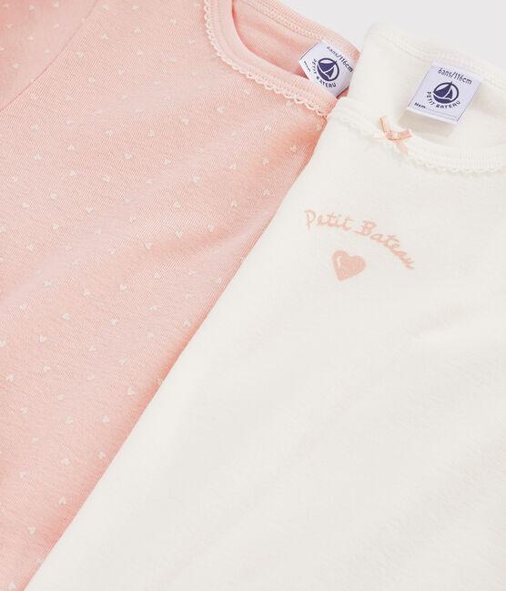 Lot de 2 tee-shirts manches longues coeurs petite fille lot .