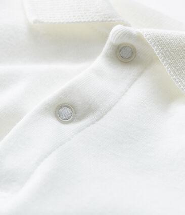 Body manches longues avec col polo bébé garçon blanc Marshmallow Cn