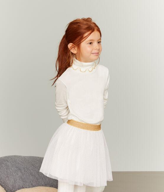Sous pull enfant fille blanc Marshmallow / jaune Or