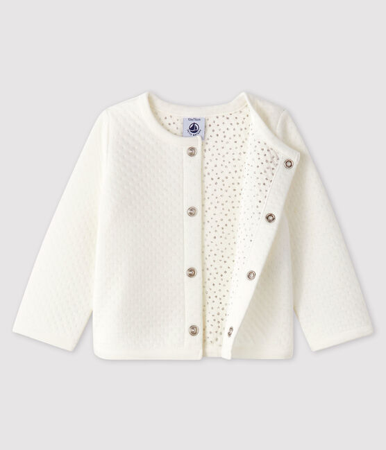 Cardigan bébé fille en tubique blanc Marshmallow