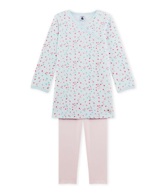 Chemise de nuit fille en bouclette velours rose Vienne / bleu Bocal