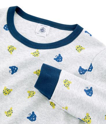 Pyjama petit garçon coupe très ajustée gris Poussiere / blanc Multico