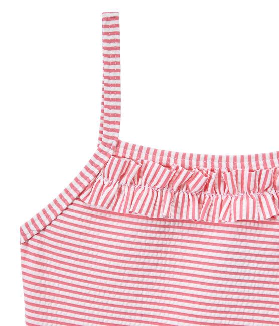 Maillot de bain fille 1 pièce rayé rose Petal / blanc Marshmallow