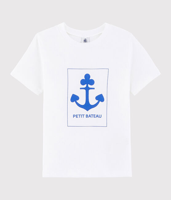 Tee shirt sérigraphié enfant garçon blanc Ecume