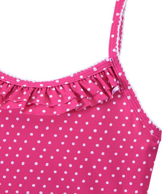 Maillot de bain fille 1 pièce à pois rose Petunia / blanc Marshmallo