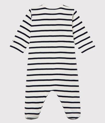 Dors bien bébé en côte blanc Marshmallow / bleu Smoking