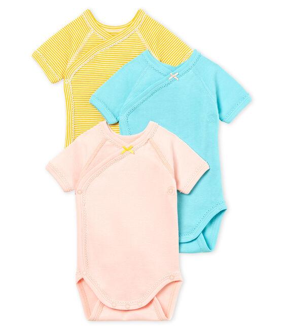Trio de bodies naissance manches courtes bébé fille lot .