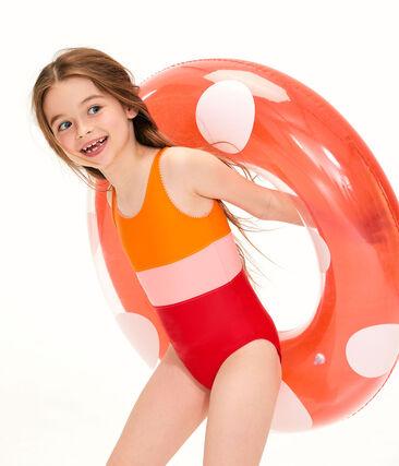Maillot de bain une pièce enfant fille orange Tiger / blanc Multico