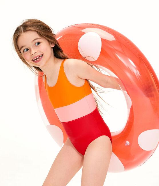 Maillot de bain 1 pièce écoresponsable enfant fille orange Tiger / blanc Multico