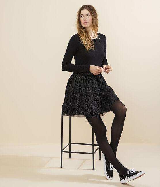 Robe bimatière tulle Femme BLACK/OR