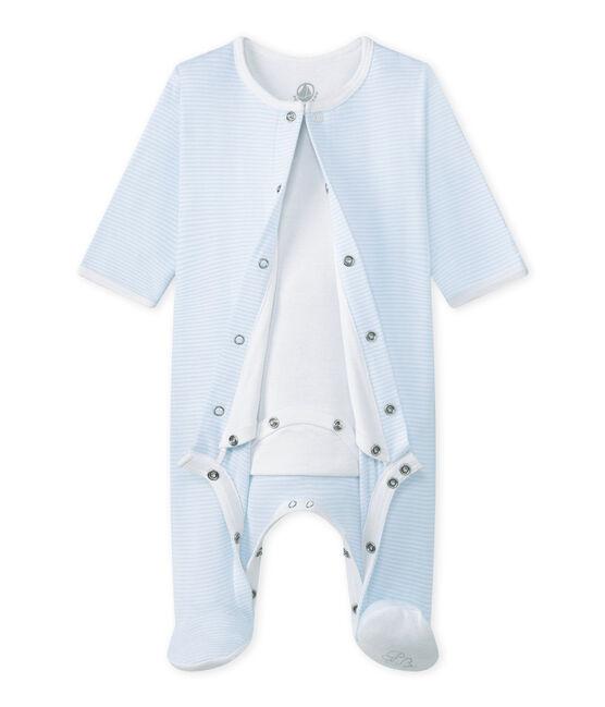 Bodyjama Bébé mixte bleu Fraicheur / blanc Ecume