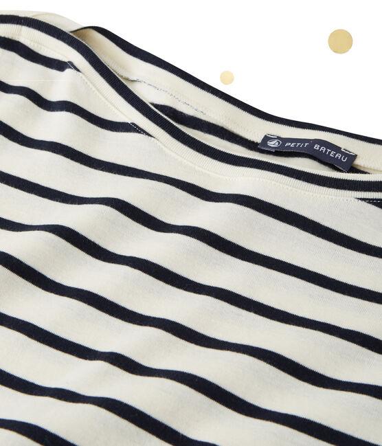 Body à manches longues femme. Petit bateau x Marie-Agnès Gillot beige Coquille / bleu Smoking