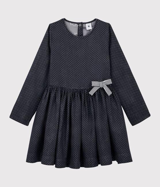 Robe manches longues enfant fille bleu Smoking / blanc Marshmallow