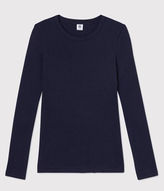 T-shirt col rond iconique en coton Femme bleu Smoking