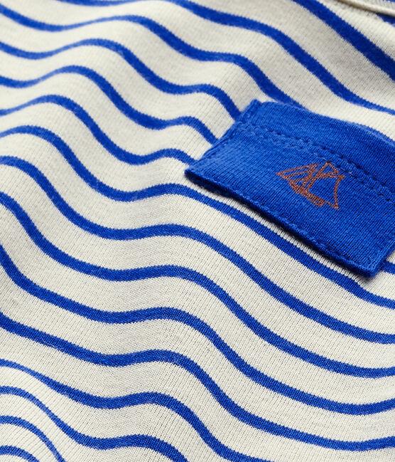 T-shirt bébé garçon manches courtes rayé blanc Feta / bleu Perse
