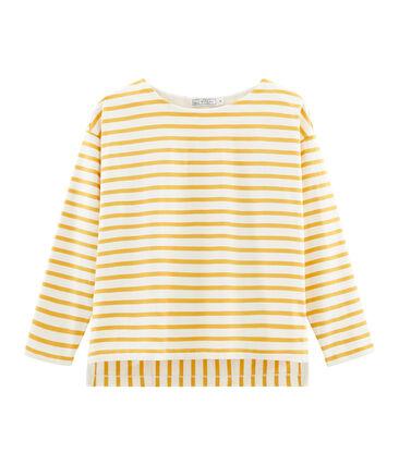 Marinière femme graphique beige Coquille / jaune Boudor