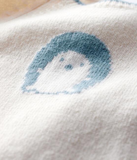 Combinaison longue jacquard bébé en tricot blanc Marshmallow