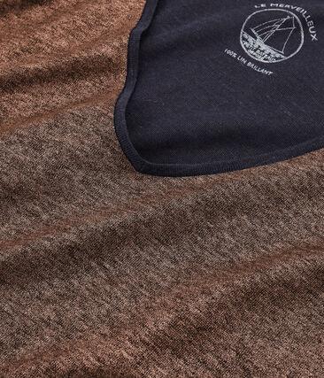 Tee-shirt manches longues femme en lin irisé bleu Smoking / rose Copper