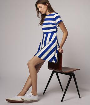 Robe rayée Femme bleu Surf / blanc Marshmallow