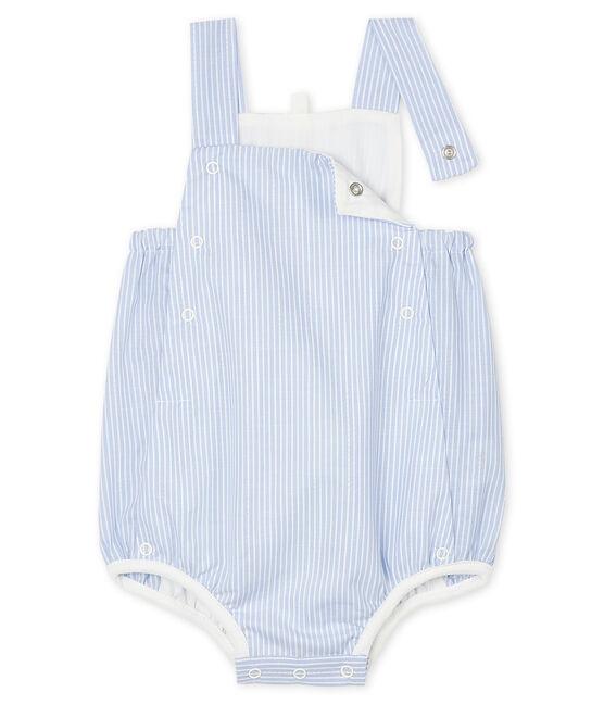 Combicourt bébé en popeline rayée blanc Marshmallow / blanc Multico