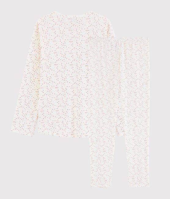 Pyjama pois multico fille - femme en coton biologique blanc Marshmallow / blanc Multico