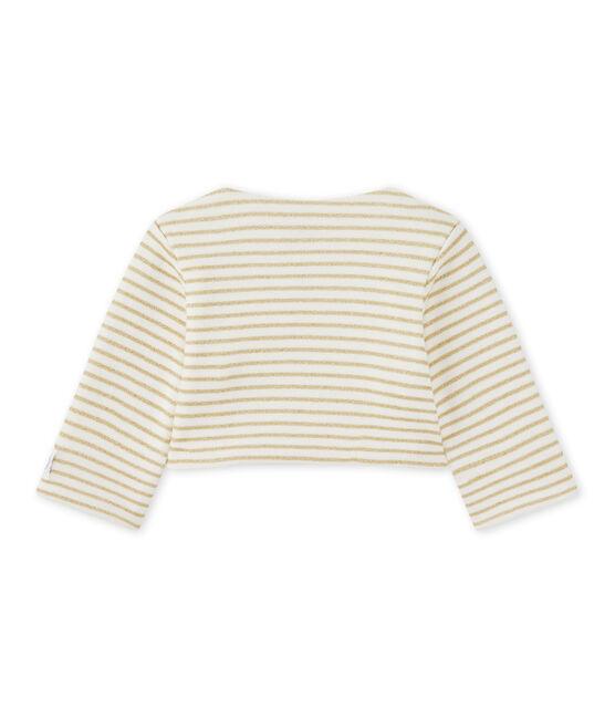 Cardigan bébé fille à rayures blanc Marshmallow / jaune Dore