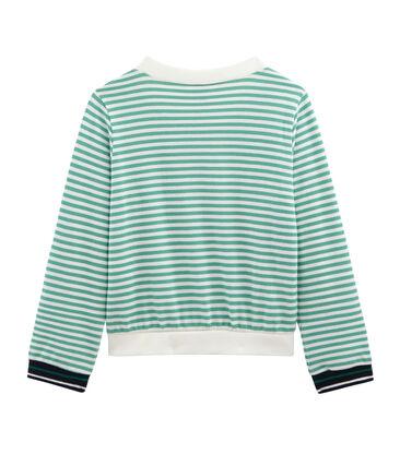 Cardigan enfant fille vert Aloevera / blanc Marshmallow