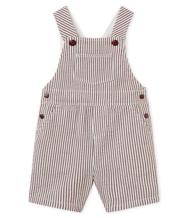 Salopette courte bébé garçon rayée rouge Vino / blanc Marshmallow
