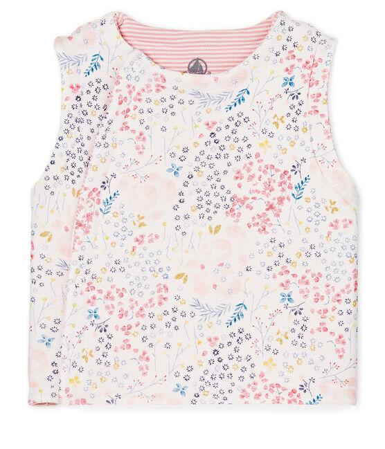 Gilet sans manches réversible bébé fille blanc Marshmallow / blanc Multico