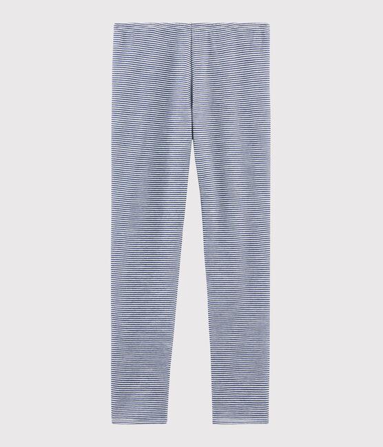 Legging enfant milleraies en laine et coton bleu Medieval / blanc Marshmallow