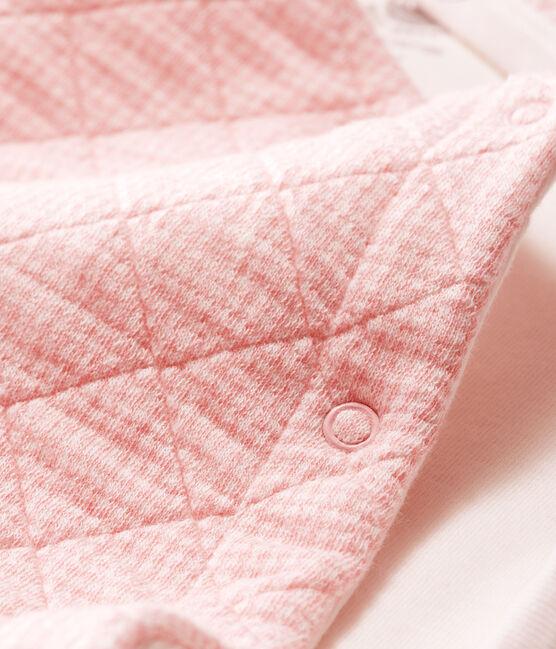 Combinaison longue bébé en tubique matelassé rose Charme / blanc Marshmallow
