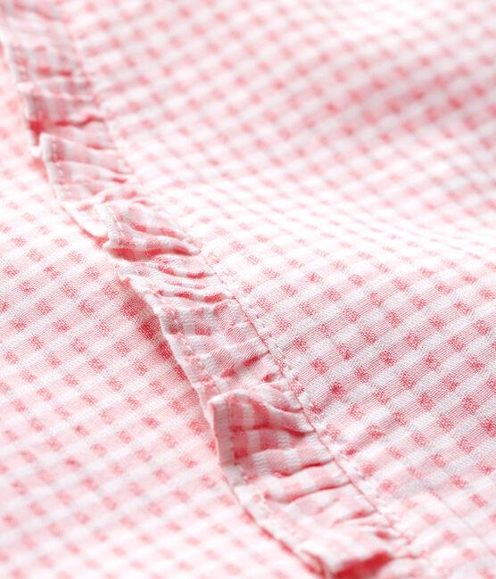 Blouse manches courtes en popeline bébé fille rose Minois / blanc Marshmallow