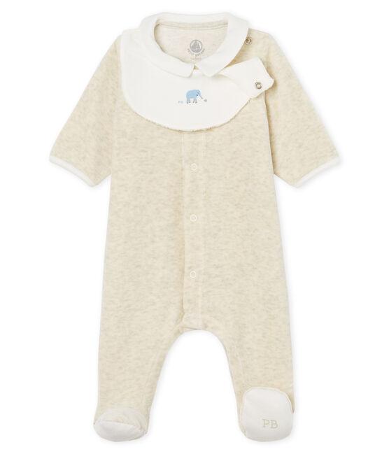 Dors-bien et bavoir bébé mixte en velours de coton gris Montelimar Chine