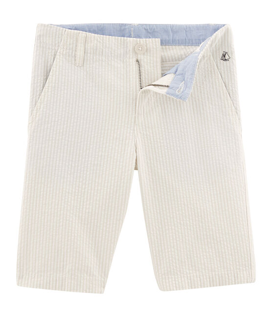 Bermuda enfant garçon beige Beige / blanc Marshmallow