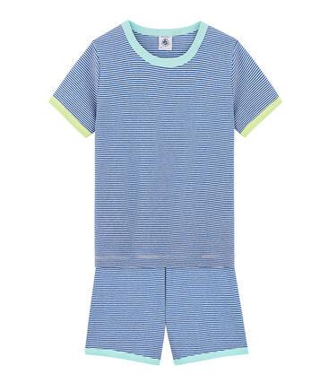Pyjacourt petit garçon en côte bleu Pablito / blanc Marshmallow