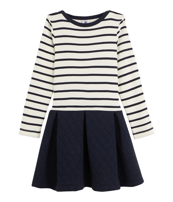 Robe bi-matière enfant fille beige Coquille / bleu Abysse