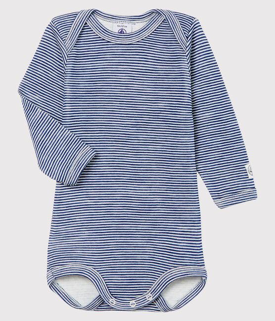 Body manches longues à rayures bébé en laine et coton bleu Medieval / blanc Marshmallow