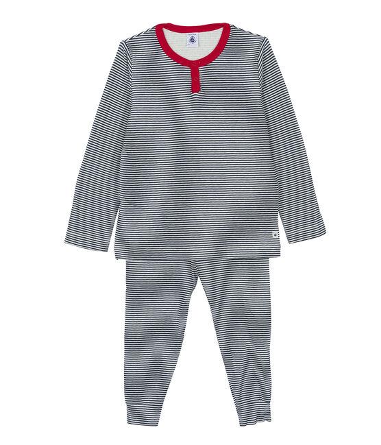 Pyjama petit garçon blanc Marshmallow / bleu Smoking
