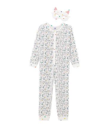 Combinaison longue petite fille blanc Marshmallow / blanc Multico