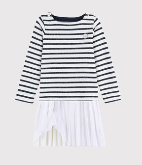Robe manches longues enfant fille MARSHMALLOW/SMOKING ARGENT BRI