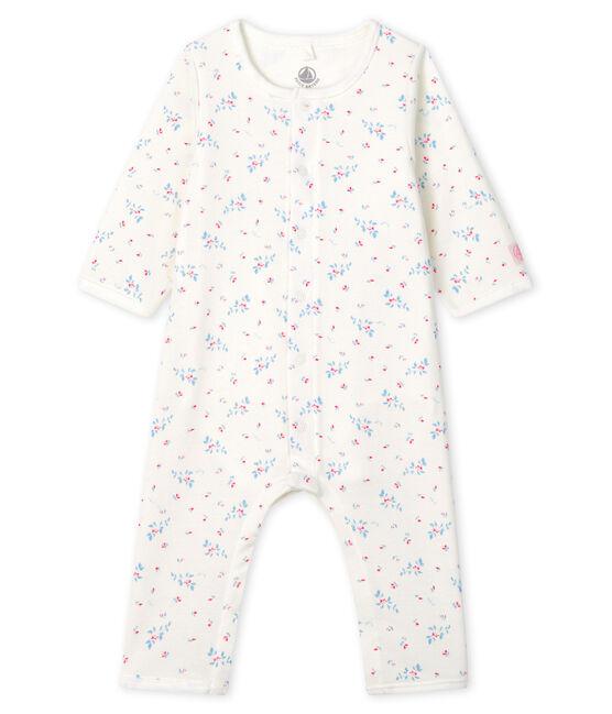 Bodyjama sans pieds bébé en côte blanc Marshmallow / bleu Fraicheur