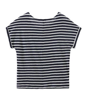 T-shirt femme en lin à rayures bleu Smoking / blanc Lait