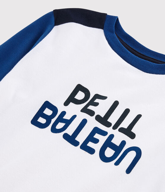 Tee-shirt en jersey enfant garçon blanc Marshmallow / bleu Major