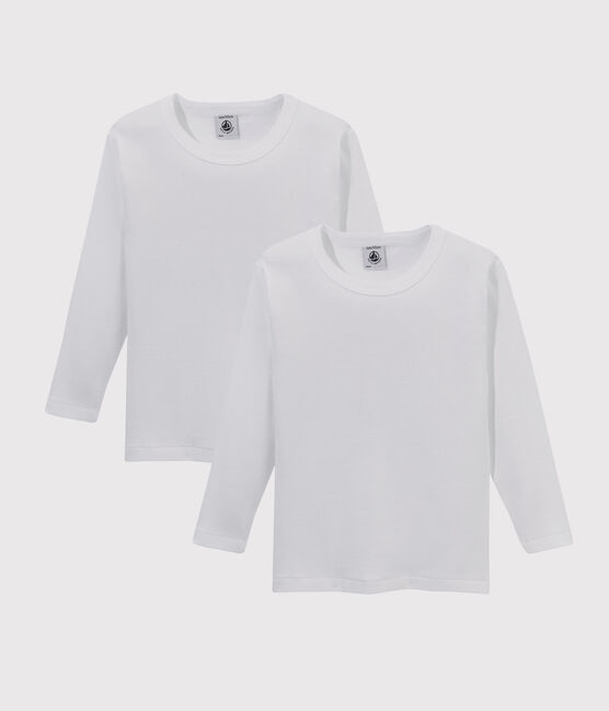 Lots de 2 tee-shirts manches longues blancs petit garçon lot .