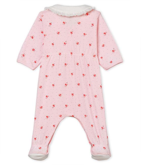 Dors-bien bébé fille en côte 1x1 imprimée rose Vienne / blanc Multico