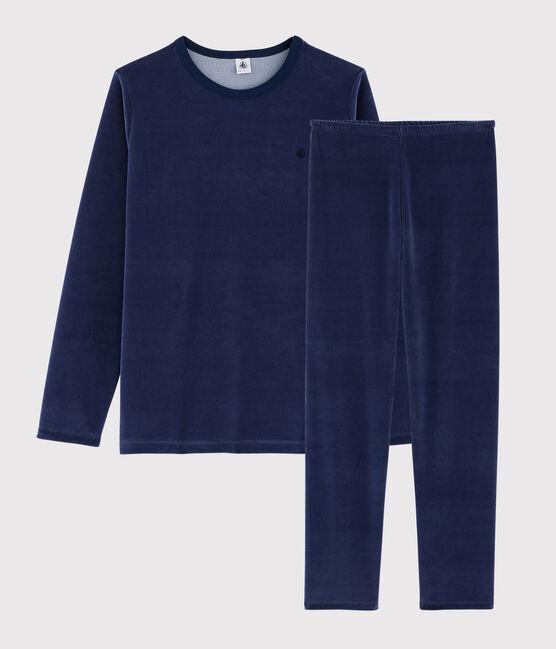 Pyjama marine garçon en velours MEDIEVAL