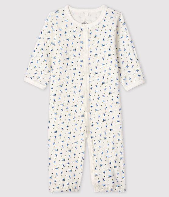 Combisac à imprimé fleur bébé fille en côte blanc Marshmallow / blanc Multico