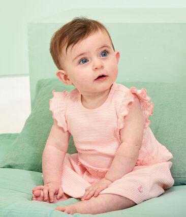 Robe milleraies bébé fille rose Patience / blanc Marshmallow